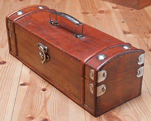 Antikas - Weinkoffer Holzkiste Wein Geschenketruhe Aufbewahrungsbox Holzbox - Wein Antik