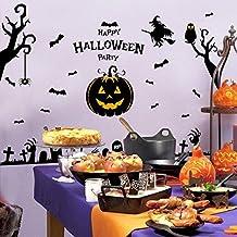 Halloween Wall Stickers Ghost House Elf Witch Pumpkin Head Window Glass Background Decorative Sticker