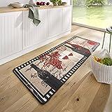 HANSE Home Design Velours Küchenläufer Chateau Schwarz Beige Rot 67x180 cm KüchenläuferLäuferTeppichläufer, Polyamid, 67 x 180 x 0.8 cm