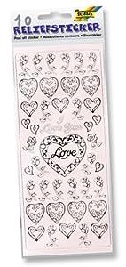 Folia 1212 - Pegatinas con relieve de corazones y formas (10 láminas) Importado de Alemania
