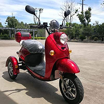 Stylish Electric Mobility Travel Scooter Vespa New Italian Style ZT-63 Trilux 3.0 Electric 3 Wheel Scooter Red