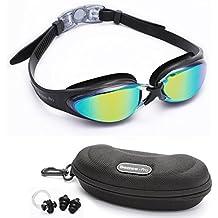 Gafas de Natación Experto por Bezzee Pro - lente de Color gafas - Anti Niebla - Hermético - Ajustable - 100% Garantía De Devolución De Dinero - Gafas de Natación Para Adultos Con Visión De 180 Grados - Lo Mejor Para Hombres, Mujeres, Niños y Jóvenes de Mas de 10 Años Incluye Estuche Protector Premium GRATUITO y Tapones Para Los Oídos (negro)