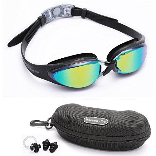 Bezzee Pro Gafas de Natación Experto - l ente de Color gafas - Anti Niebla - Hermético - Ajustable - Visión De 180 Grados - Mejor Para Hombres, Mujeres, Niños y Jóvenes de Mas de 10 Años
