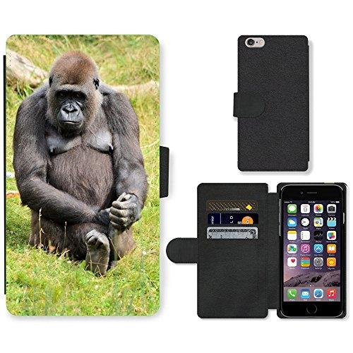 Just Mobile pour Hot Style Téléphone portable étui portefeuille en cuir PU avec fente pour carte//m00139020Gorilla Zoo série Singe Singes//Apple iPhone 6Plus 14cm