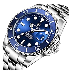 Automatic Divers beobachtet die analoge Automatik-Uhr der Männer mit Edelstahlband