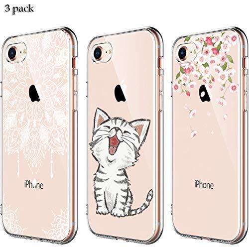 Preisvergleich Produktbild Yalixin [3 Stück] iPhone 7 Hülle,  iPhone 8 Case,  Ultradünn Transparent TPU Phone Case Handyhülle für Apple iPhone 7 / iPhone 8 4.7 Zoll - Mandala,  Katze,  Blumen