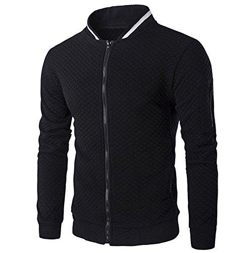 Joker Trachten Jacke - JYJM Herren Zip Cardigan Plaid Sweater