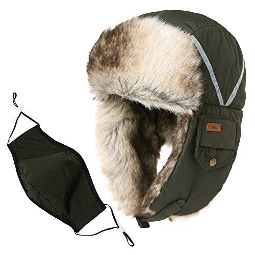 Mad Bomber Hat (Fancet Unisex Kunstfellmütze für den Winter, Jagd, Bomber, Russisches Wetter, Ohrenklappe, Mütze mit Klappen, 55-61 cm, Damen, Army Green_89135, Medium)