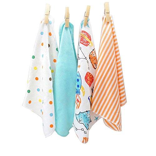 CuteOn 4 PCS Riutilizzabile Neonato Bambino Panno per il viso Alimentazione pulire Stoffa Mini Bambino Asciugamani per Sensibile Pelle 11.02' x 11.02' Blu