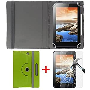 "Hello Zone Exclusive 360° Rotating 7"" Inch Flip Case Cover + Free Tempered Glass for iBerry Auxus AX04 -Green"