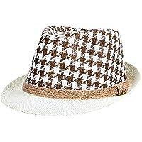 Leisial Verano Sombrero de Paja Ala Corta Protector Solar Sombrero de Playa Sol al Aire Libre del Jazz Gorro para Hombre Negro