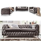 Moebella Chesterfield Sofagarnitur 3-2-1 Emma Samtstoff Knöpfung Modern Designer Couch (Silber-Grau)