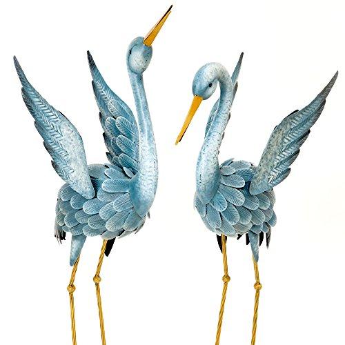Bits y piezas–japonés azul Heron metal Jardín Escultura Set–dos grúas ideal para jardín de metal decoración–Metal jardín arte, al aire libre jardín y patio decoración, escultura, jardín y decoración.