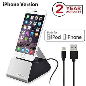 Avantree CGDK-10I Station d'accueil pour Tablette/Smartphone Argenté Apple, iPhone 5/5S/5C/6/6S/6plus iPod Touch 5ème Gèn/7ème Gén iPad Mini, MFI, connecteur Apple