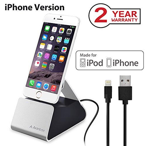 Avantree CGDK-10I Docking-Station, silberfarben, für Tablet/Smartphone, Apple, iPhone 5/5S/5C/6/6S/6Plus, iPod Touch 5th Gen/7th Gen iPad Mini, MFI, Anschluss Apple