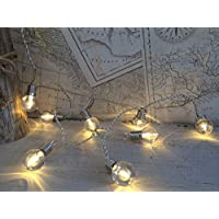 Homes on Trend Fairy Lights 16 Retro Style Hanging Mini Bulb LED String Light 2M Mains Operated Powered Lighting Decoration Warm White Decorative Globe Garland For Wedding Venue Party Decor