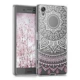 kwmobile Étui transparent en TPU silicone pour Sony Xperia X en rose clair blanc transparent Design Soleil indien