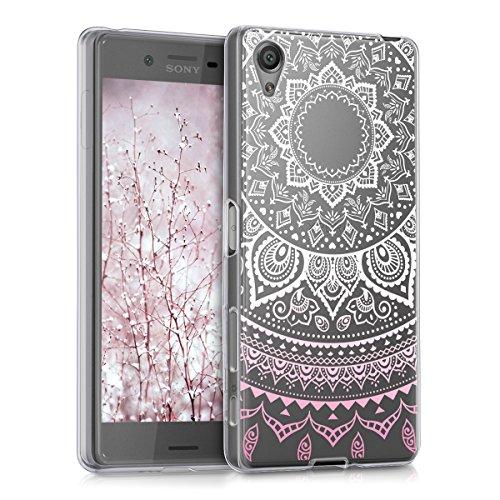 kwmobile Crystal Case Hülle für Sony Xperia X aus TPU Silikon mit Indische Sonne Design - Schutzhülle Cover klar in Rosa Weiß Transparent