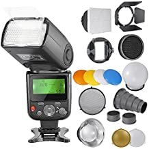 Neewer® PRO NW670 E-TTL Kit de Flash para CANON Rebel T5i T4i T3i T3 T2i T1i XSi XTi SL1, EOS 700D 650 D 600 D 1100 550 D 500D 450 D 400D 100 D 300 60 70 DSLR cámaras, cámaras compactas de Canon EOS M, incluye: (1) NW670 ETTL Flash para Canon + Kit de accesorios para Flash Speedlite como Barndoor, Snoot, Panal, Estándar reflector, Bola difusor , Gel filtros de colores (Naranja, Azul, blanco, amarillo), Softbox, Adaptador de montaje Universal