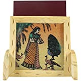 Ganga Craft House Gemstone Pine Wood Mobile Stand 5 Peacock Handmade Painting