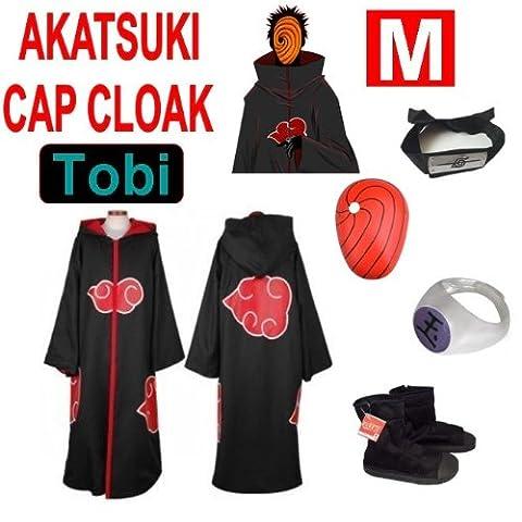 Hot!Naruto Cosplay Set für Tobi - Akatsuki Mantel (M) + Narudo Tobi Maske (rot) + Tobi (Uchiha Madara) ring + Tobi Uchiha Itachi Stirnband + Naruto Akatsuki (Madara Uchiha Kostüm)