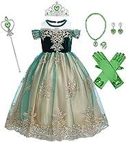 FYMNSI Niña Disfraz de Princesa Anna Vestido Reina de Nieve Disfraces Cosplay de Carnaval Ceremonia Fiesta Inf
