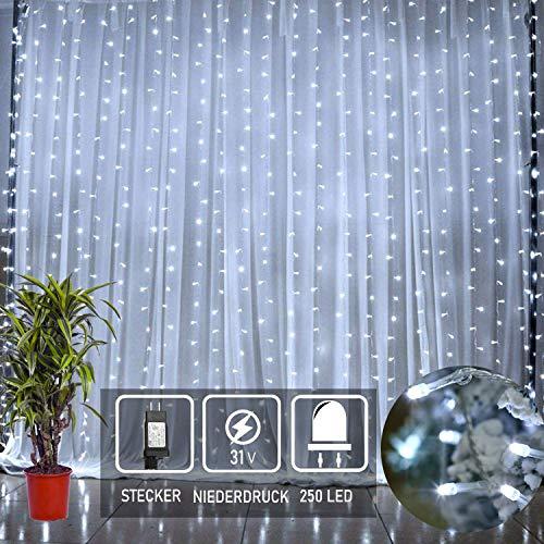 250 LED Sterne Regen Lichterkette eiszapfen Lichtervorhang Netz 3mx3m IP44 Wasserfest für led Weihnachtsbeleuchtung Innen Außen Garten Balkon Party Hochzeit Fenster Wand weiß kaltweiss Xmas Light