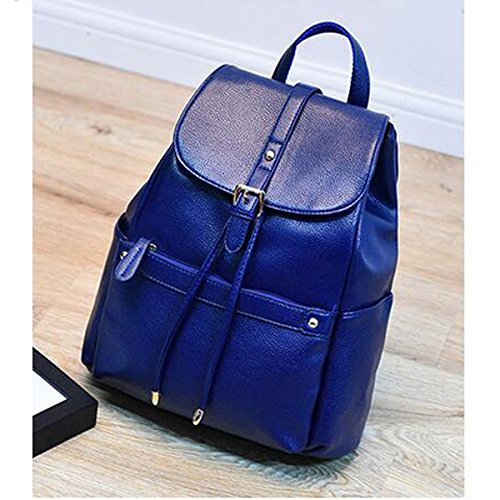Women Fashion College PU Borsa Da Viaggio Zaino Sacchetto Di Spalla Laptop Daypack Multicolor Blue