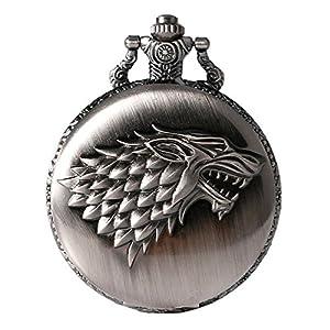 """Game of Thrones Quarz-Taschenuhr mit Wappen """"Haus Stark"""" für Herren in Retro-/Vintage-Stil, mit Antiksilber-Effekt und 80 cm langer Halskette"""
