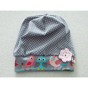 Baby Beanie Spatzenliebe grau mit Punkte und Häkelblume