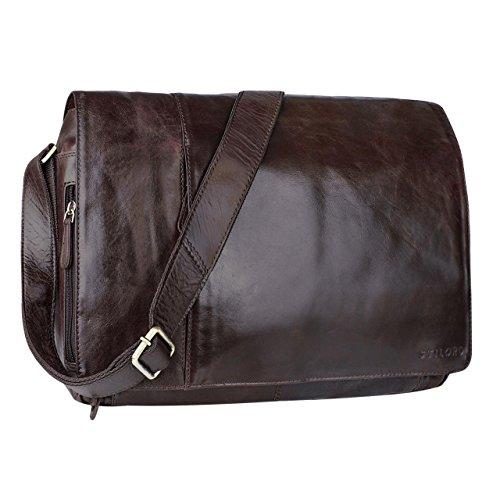 STILORD 'Elias' Ledertasche Herren Umhängetasche Unitasche Laptoptasche 15.6 Zoll Aktentasche Bürotasche Büffel Leder, Farbe:schokoladen - braun
