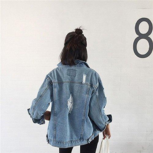 Minetom Damen Herbst Beiläufig Stilvoll Gewaschene Loch Jacke Button Down Denim Jean Jacket Oberbekleidung Mantel Blau