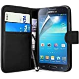 Connect Zone® Black Wallet PU Leather Flip Case Cover For Samsung Galaxy Trend Plus S7580 + Screen Protector + Polishing Cloth & Mini Touch Screen Stylus