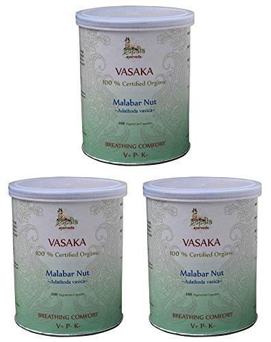Vasaka Bio (108 Veg Kapseln - 3er pack) - Adathoda vasica 500mg je Kapsel - 100% Bio-zertifiziertes pflanzliches Nahrungsergänzungsmittel der Lacon GmbH