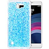 """LG X5 Coque, LG X Max, Nnopbeclik® Soft/Doux Silicone Transparente """"paillette brillant"""" Backcover Housse (5.5 Pouces) Antiglisse Anti-Scratch Etui - [Bleu]"""