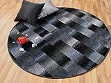 Designer Velour Teppich Mystic Karo Blau Grau Anthrazit Rund in 7 Größen
