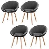MCTECH® 4x Esszimmerstühle Besucher-Stuhl Esszimmerstuhl Wohnzimmerstuhl Stuhlgruppe Konferenzstühle Bürostuhl Stoff Küchenstuhl mit Armlehne (Grau)