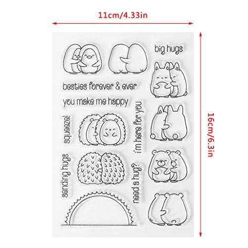 ECMQS Cute Hedgehog DIY Transparente Briefmarke, Silikon Stempel Set, Clear Stamps, Schneiden Schablonen, Bastelei Scrapbooking-Werkzeug