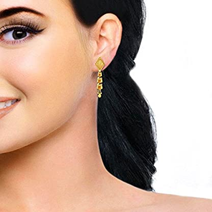 Candere By Kalyan Jewellers 22k (916) Yellow Gold Dyuti Drop Earrings for Women