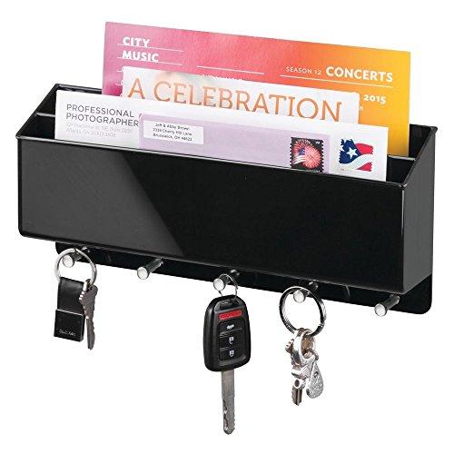 mDesign Schlüsselbrett mit Ablage - vielseitiges Schlüsselboard aus robustem Hartplastik mit Briefablage für Post oder Handys (Wand Geschenkpapier Organizer)