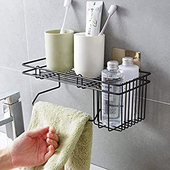 GETKO WITH DEVICE Stainless Steel Bathroom Shower Caddy, Bathroom Shelf Wall Hanging Storage Organizer Kitchen Rack with Shampoo, Soap Holder and Towel Rack Hanger (Black)