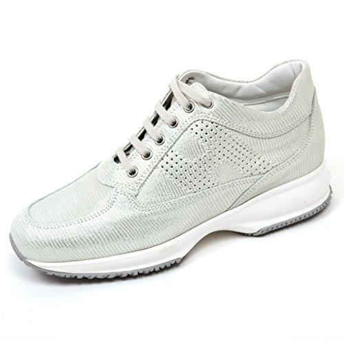 C8118 sneaker donna HOGAN INTERACTIVE scarpa H bucata bianco/argento shoe woman Bianco/Argento