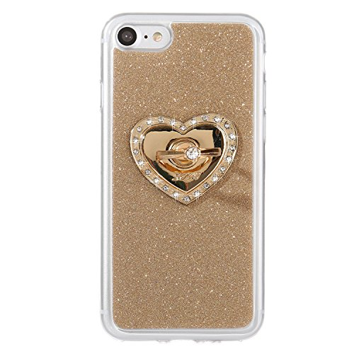 iPhone 7 Bling Case, Per Apple iPhone 7 Cover Silicone, Asnlove Custodia Flessible TPU Silicone (Anello Fiore Crystal Rose)
