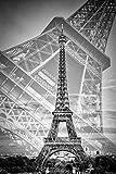 Artland QualitätsbilderWandtattoo Wandsticker Wandaufkleber 60 x 90 cm Städte Paris Foto Schwarz Weiß C7DE der Doppelte Eiffelturm