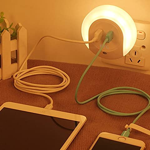 KYG Lámpara Nocturna con Doble Puertos de USB Mural Luz LED con Sensor de Luz Automático Iluminación a Pared Quitamiedos Infantil para Bebé Niños Dormitorio Pasillo