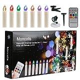 Moncolis LED Weihnachtskerzen 30er Set RGB/Warmweiß mit Fernbedienung mit Timerfunktion als Weihnachtsdeko für Weihnachtsbaum, Partys, Hochzeit