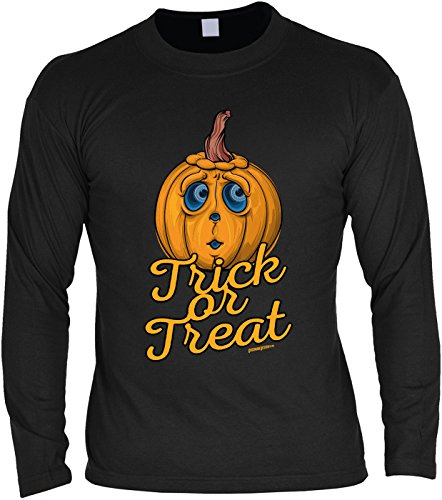Tini - Shirts Halloween Langarmshirt Männer - Halloweenmotiv - Halloweenspruch : Trick or Treat - Herren Longsleeve Spruch lustiger Kürbis Gr: M