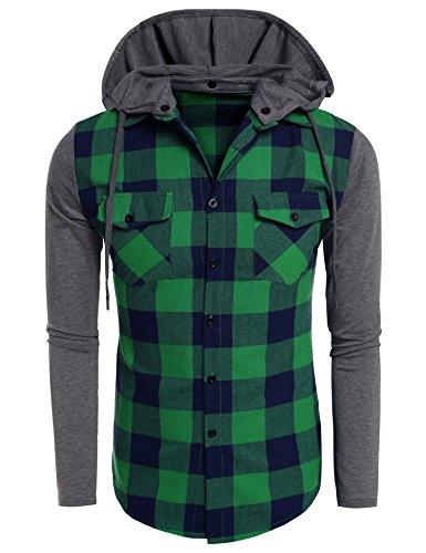 Coofandy Hoodies con Capucha Verde Hombre Manga Larga Cuadros Camisa Casual XL