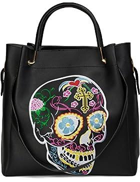 styleBREAKER Henkeltaschen Set mit Sugar Skull Design Stickung, Totenkopf Handtasche, Tasche, Damen 02012134