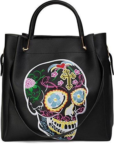 styleBREAKER Henkeltaschen Set mit Sugar Skull Design Stickung, Totenkopf Handtasche, Tasche, Damen 02012134, Farbe:Schwarz (Patch Denim Insgesamt)